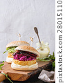 Vegan burgers with avocado, beetroot and sauce 28015110