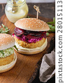 Vegan burgers with avocado, beetroot and sauce 28015113