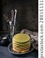 Ombre matcha pancakes 28015131