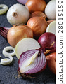Variety of whole and sliced onion 28015159