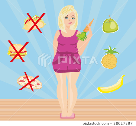 woman chooses between healthy and unhealthy food 28017297