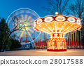 Illuminated Attraction Ferris Wheel And Carousel 28017588