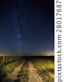 Night Starry Sky Above Country Road In Countryside 28017687