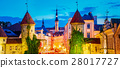 Tallinn, Estonia. Night View Of Viru Gate - Part 28017727