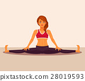 illustration of yoga girl doing the splits. 28019593