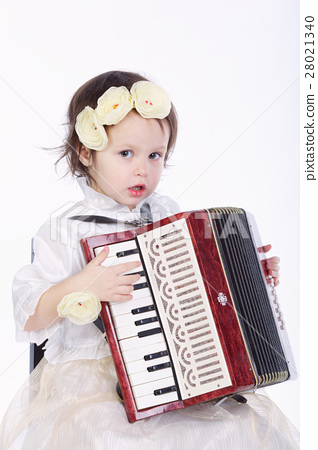 little cute girl with accordion 28021340