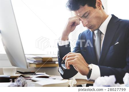 Stress Work Headache Rubbing Concept 28027799