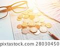 Passbook, money, coins on blue background 28030450
