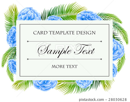Card template with blue flowers frame 28030628