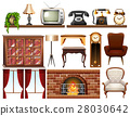 Different vintage objects on white background 28030642