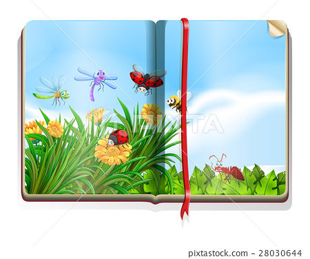 Book with garden scene full of insects and flowers 28030644