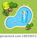 Woman on floating raft in the pool 28030655