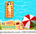 Summer holiday with woman on floating raft 28030668