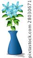 Blue flowers in blue vase 28030671