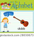 Flashcard letter U is for ukulele 28030673