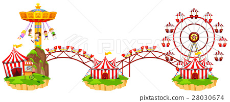 Circus scene with many rides 28030674