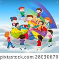 Many kids jumping on colorful mat 28030679
