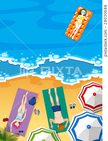 Summer holiday on the beach with people sunbathing 28030688