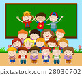 Children playing pyramid in classroom 28030702