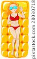 Woman in red bikini on floating mat 28030718