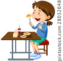 Girl eating at the canteen dining table 28032648