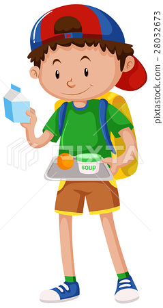 Boy holding tray of food 28032673