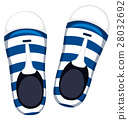 Pair of shoes with blue stripes 28032692
