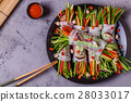 Spring rolls with vegetables and shiitake. 28033017