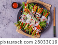 Spring rolls with vegetables and shiitake. 28033019
