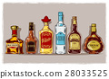 set of bottles with alcohol and stemware 28033525