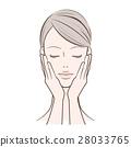 ผู้หญิงที่มีมือผู้หญิงอยู่บนใบหน้า 28033765