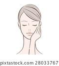 ผู้หญิง _ ผู้หญิงด้วยมือซ้ายของเธอบนใบหน้าของเธอ 28033767