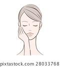 ผู้หญิงที่มีมือขวาหญิงบนใบหน้า 28033768