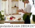ผู้หญิงติดกับการทำอาหาร 28034197