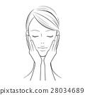 หญิง _ ผู้หญิงด้วยมือทั้งสองบนใบหน้าของเธอ 28034689