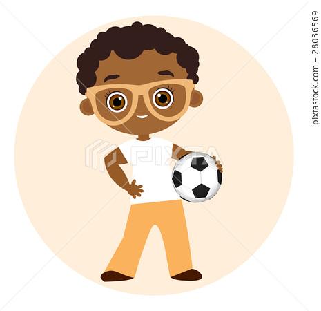 African American boy playing football. 28036569