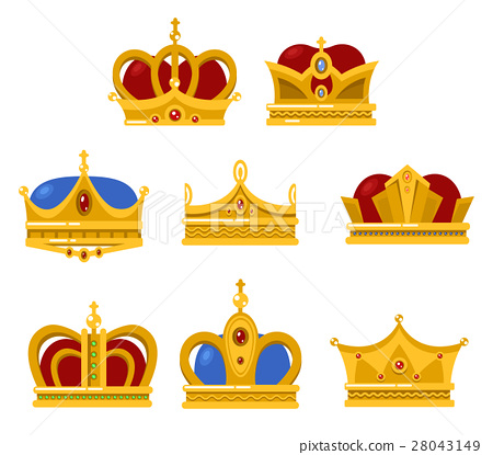 Shining crowns and tiara isolated icons 28043149