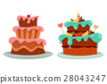 Birthday and wedding celebration cake with cherry 28043247