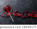 Valentines day. Candy heart and red ribbon 28048175