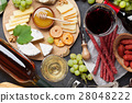 Wine, grape, cheese, sausages 28048222