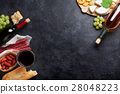 Red and white wine, grape, cheese and sausages 28048223