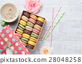 Colorful macaroons and coffee 28048258