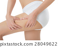 woman's midsection, pinching Excess fat thigh. 28049622