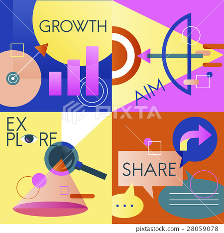 Icon Business Vector Set Colorful 28059078