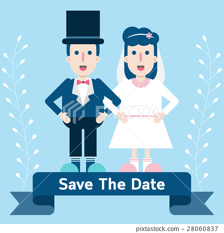 Cute wedding invitation card template with couple. 28060837