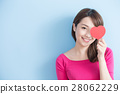 woman holding red love hearts 28062229