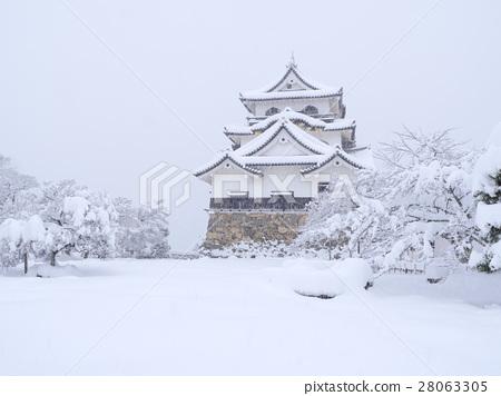 National Treasure Hikone Castle Winter Scene 28063305