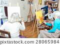 Group of people having lesson in painting school 28065984