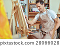 Inspired artist painting picture on a canvas 28066028