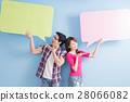 young couple take speech bubble 28066082
